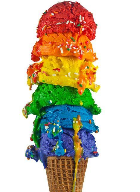 Еда цвета радуги - мороженное